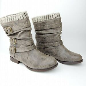 JustFab Nafise Sweater Cuff Booties Size 8 Taupe